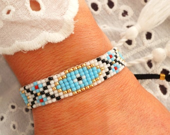 Evil Eye Bracelet- Turquoise Bracelet - Bead Loom Bracelet - Bohemian Bracelet - Boho Chic Bracelet - Ethnic Bracelet - Aztec Bracelet