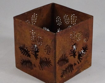 Vintage Rustic Metal Pinecone Votive Candle Holder