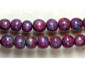 Round Beads Polymer Clay Gold Pearl Purple Peacock Red Foil Magenta Candies Bead Series (2)