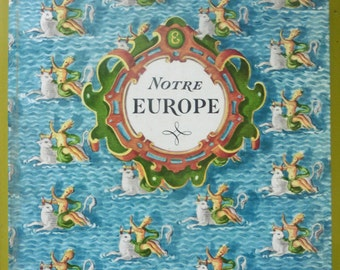 French Vintage Decorative Book OUR EUROPE, Textbook, School, Child, Guide, Culture, European, Manual, Old, History, Geography, France,