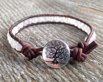 rainbow moonstone beaded leather bracelet for crown chakra with tree of life white gemstones