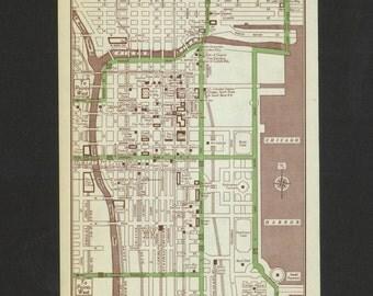 Vintage Map Chicago Illlinois Original 1951