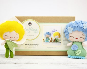 HYDRANGEA & LILY Doll Kit // Wool Felt Doll Kit // Noialand Doll Kit // diy felt doll // Flower Dolls