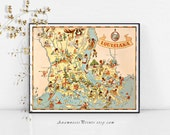 LOUISIANA MAP PRINT - vintage pictorial map - illustrated by Ruth Taylor White - home decor wall art print - wedding or housewarming gift