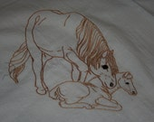 Flour Sack Dish Towel - Hand Embroidered - Mare and foal
