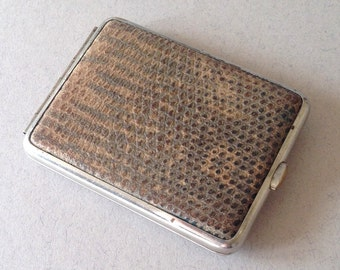 Vintage German Cigarette Case, Brown Faux Snakeskin, Double-sided, Gold Interior, Smoking Collectable, Card Case, Cigarette Box Tin