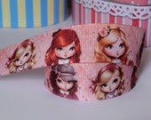 1 inch-25mm Grosgrain Ribbon Vintage-Children by yard Craft Supplies-Hair Bows-Scrapbook-Girl-Baby Headband-Character-Cartoon