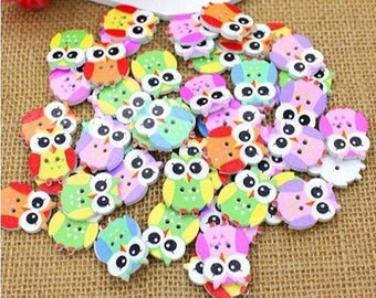 10 Owl Buttons Wooden 2 holes Painted,Cartoon,Sewing,Scrapbook,Hat Supply,Embellisment,Children dress,Craft,Diy
