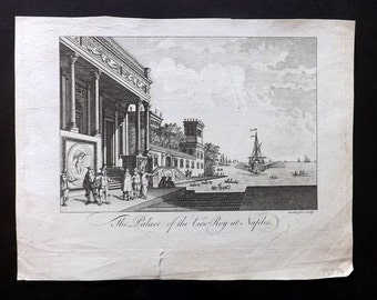 Bankes C1790 Antique Print. The Palace of the Vice-Roy at Naples, Italy
