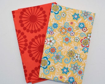Two Fat Quarter Cuts - French Bull Raj Orange Floral Spokes, Riley Blake Serenata Floral Yellow by Samantha Walker