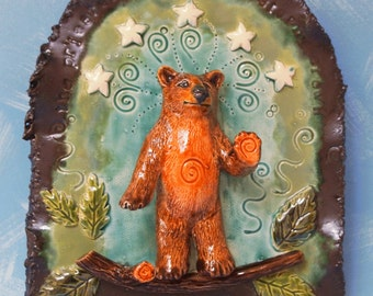 bear priestess with stars small ceramic wall plaque