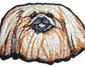 Embroidered Pekingese Dog Face Animal Iron on Applique Patch