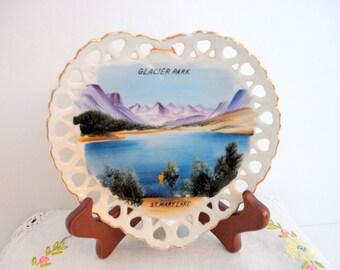 Vintage Souvenir Plate - Glacier Park - Hand painted - 1950s - St. Mary's Lake - Montana Keepsake Collectible