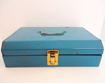 Vintage Metal Tool box - Blue Tool box - 1960's - Rustic Industrial - Desk Office Accessory - Art supplies - Organizer Storage