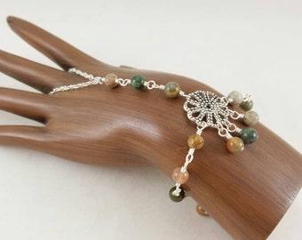 Mixed agate slave bracelet, hand flower bracelet, gypsy bracelet, gypsy jewelry, boho bracelet body jewelry, body novelties