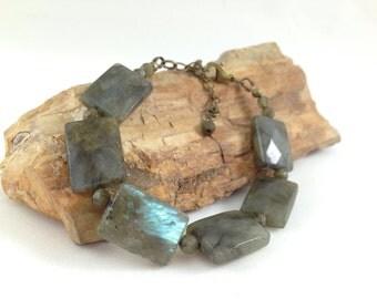 Genuine Labradorite bracelet, bronze, blue/green flash, gemstone bracelet, fine labradorite