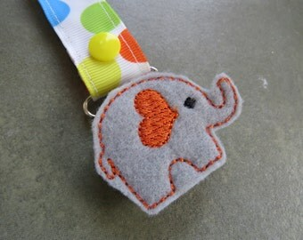 Pacifier Leash Paci Clip - Elephant with Orange Heart Ear Feltie Metal Pacifier Clip