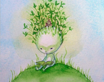 Reading books postcard artcard flowers green clover insect cute reader