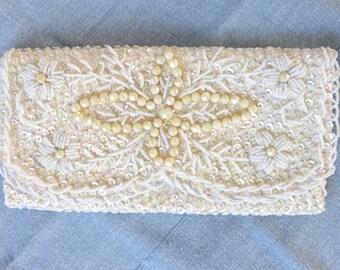 Vintage 1950's Metallic Ivory Floral Beaded & Sequin Satin Scalloped Envelope Clutch