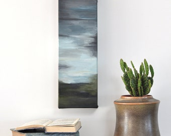Landscape Art, Original painting on canvas, Abstract Landscape, Tall art, Moody sky, Living room art, Blue green art, Ready to hang