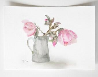 Magnolia painting, Watercolour magnolia, Original floral painting, magnolia tree, Fine art watercolour, flower painting, watercolour flowers