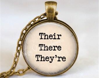 Their There They're Necklace, Grammar Police, Good Grammar, English Teacher, Teacher Gift, Teacher Jewelry, Correct Grammar, Editor Gift