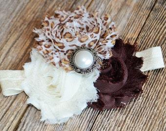 Cheetah Brown Cream Shabby Headband- Flower Headband- Baby Shabby Headband-  Shabby Headband
