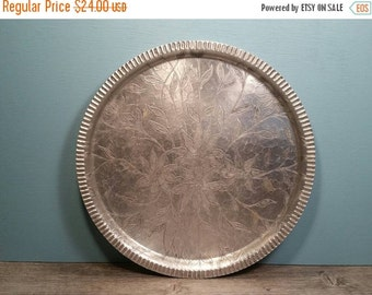 SALE - Round Aluminum Tray - Flower Design