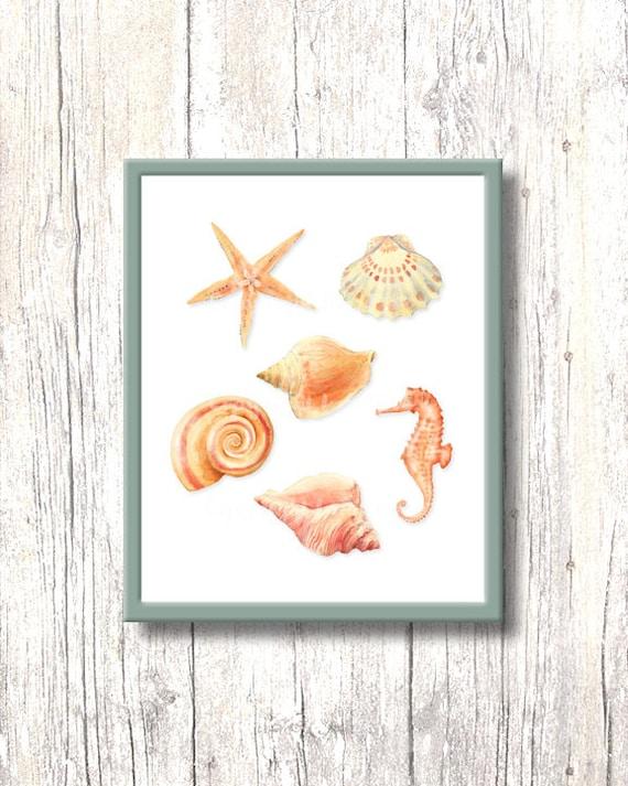 Wall Art Prints Download : Art print seashells printable sea wall decor watercolour home