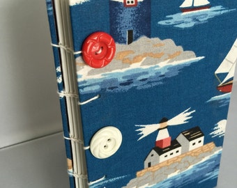 Lighthouse Sailboat Blue Fabric Covered Sketchbook Blank Book Journal