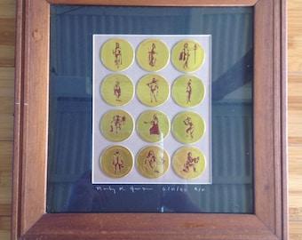 Vintage Hawaiian Pogs by Rocky Jensen, Framed Pog Set, Hawaiiana Collectors Limited Edition