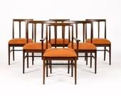 Danish Modern / Mid Century Mahogany Dining Chairs — Side + Captain's — Set of 6 — Orange Textile