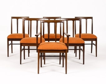 Danish Modern / Mid Century Mahogany Dining Chairs — Side + Captain's — Set of 6 — Orange Textile