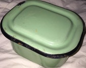 Green Enamelware Box Antique Kitchen Ware Miniature Enameled Container Canister