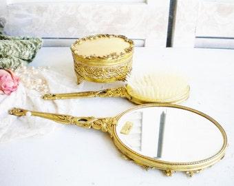 Gold Plate Ormolu Hand Mirror Vanity Set Globe 4 Piece Set 24K Plated Beveled Mirror Powder Jar Brush Vanity Home Decor Wedding Gift For Her
