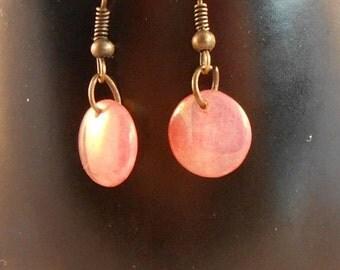 ON SALE Copper dangle bead earrings,copper drop bead earrings,round bead earrings