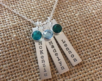 Personalized Mom Necklace, Mom Necklace, Kids Names Necklace, Hand Stamped Necklace, Personalized Grandma Necklace, Birthstone Name Necklace
