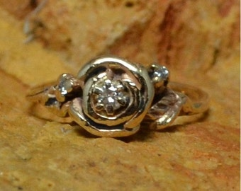 DEADsy LAST GASP SALE Vintage Antique Engagement Rose Flower Ring // Solitaire Diamond Engagement Ring // Rose and Rosebuds with Leaves and