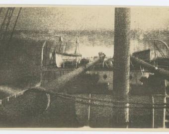 Vintage Snapshot Photo: Ship's Deck in Stormy Seas, c1910s (69505)