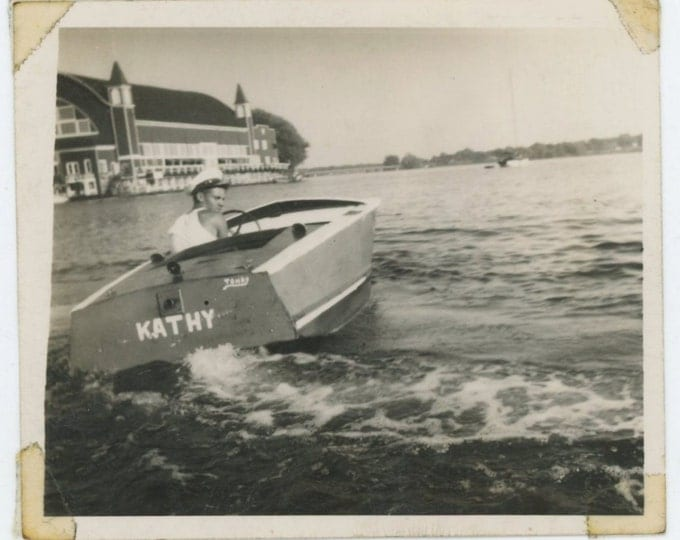 "Vintage Snapshot Photo, c1940s-50s: ""Me and my boat!"" (65460)"