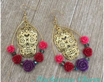 Day of the Dead Dia De Los Muertos Sugar Skull and Roses Earrimgs