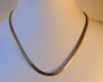 Gold Tone Cobra Chain Link Necklace   18 Inch