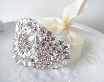Rhinestone Bracelet / Rhinestone Bridal Cuff   Made to Order