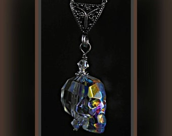 Ab Clear Swarovski Crystal Skull Stainless Steel Necklace.