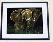 Lucky African Elephants on Black Velvet