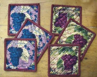 Set of 6 Quilted Cotton Reversible Coasters