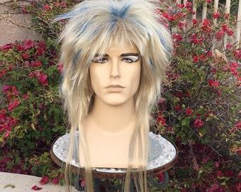 Couture Jareth Ball Labyrinth Blonde Blue Custom Wig