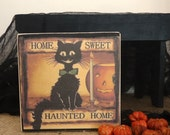 Black Cat Haunted House, Vintage Halloween Cat art, Cute Halloween decor, Primitive Halloween gift