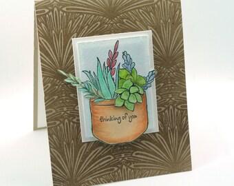 succulent plants thinking of you card, cactus garden, cacti tera cotta pot blank card