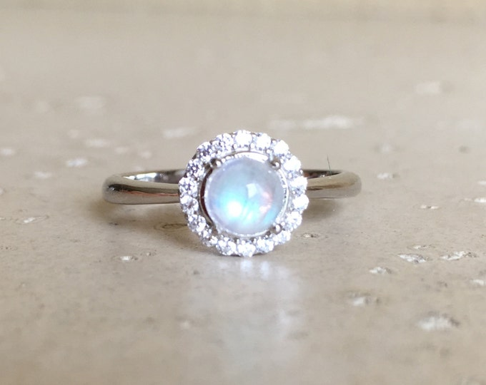 Small Moonstone Promise Ring- Tiny Halo Engagement Ring- June Birthstone Sterling Silver Ring- Rainbow Moonstone Anniversary Ring- Gifts